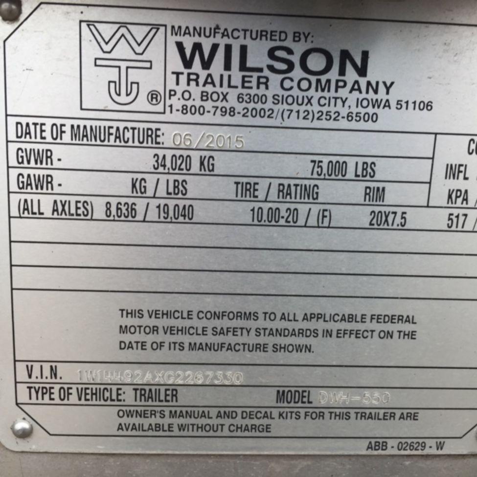Wilson Trailer Sioux City 2016 Grain Stocknum Ts2673 Wiring Diagram 2008 Nebraska Kansas Iowa